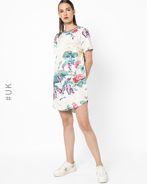 Floral Print Dress With High-Low Hem By OEUVRE ( Multi )