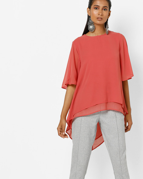 High-Low Tiered Top With Bell Sleeves By Femella ( Rose )