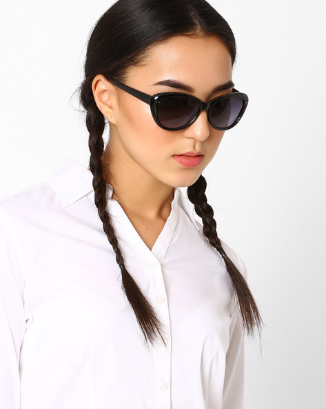 Anti-Glare Cat-Eye Sunglasses By Macv ( Black )