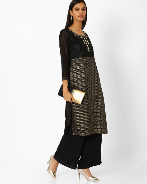 Foil Print Chanderi Straight Kurti By Kifahari ( Black )