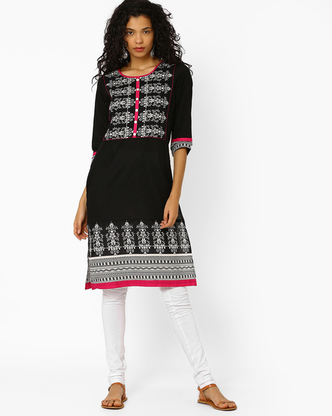 Printed Cotton Straight Kurta By AVAASA MIX N' MATCH ( Black )