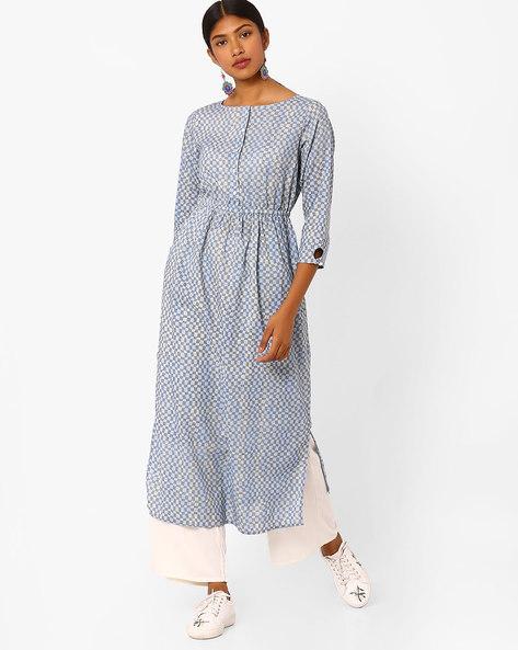 Checked Midi Dress By Jaipur Kurti ( Blue )