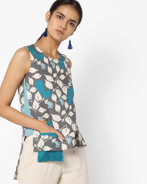 Printed Sleeveless Top With Step Hem By AJIO ( Charcoal )