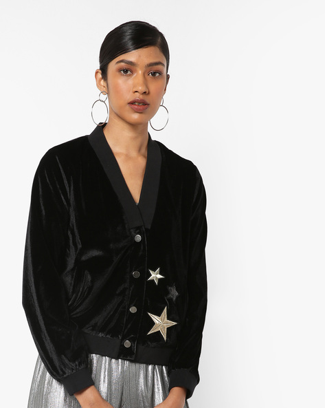 Buttoned-Front Jacket With Star Print By Vero Moda ( Black )