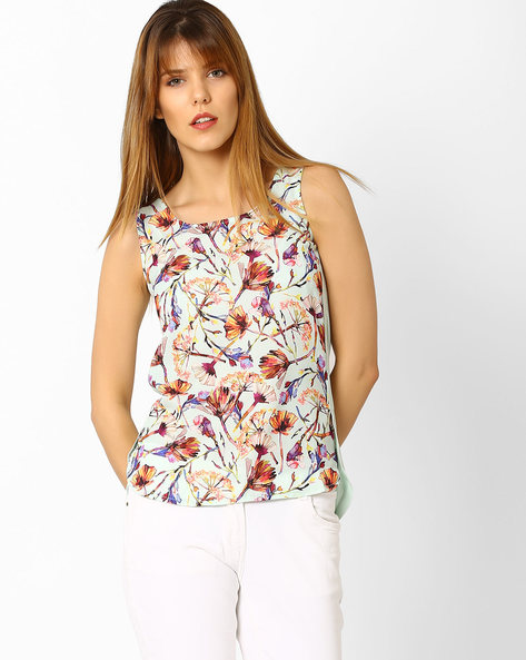 Floral Print Sleeveless Top With High-Low Hem By Code ( Aqua )
