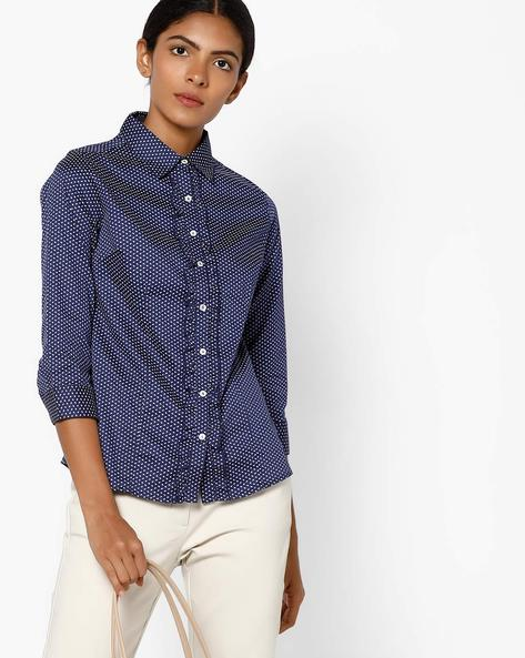 Printed Shirt With Spread Collar By FIG ( Navy )