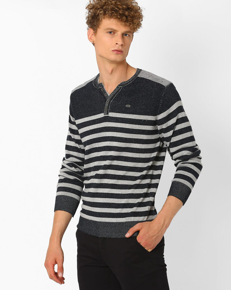Striped Regular Fit Henley Sweater By DNM X ( Navy )