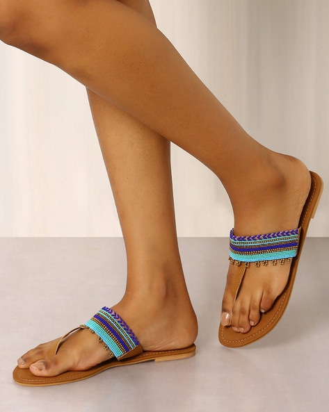 Beaded T-strap Chappals By Indie Picks ( Brown ) - 460017699004