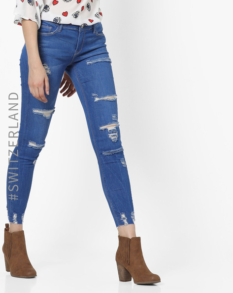 Distressed Jeans With Frayed Hems By TALLY WEiJL ( Lightblue )