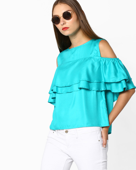 Cold-Shoulder Top With Ruffled Bodice Overlay By AJIO ( Teal )