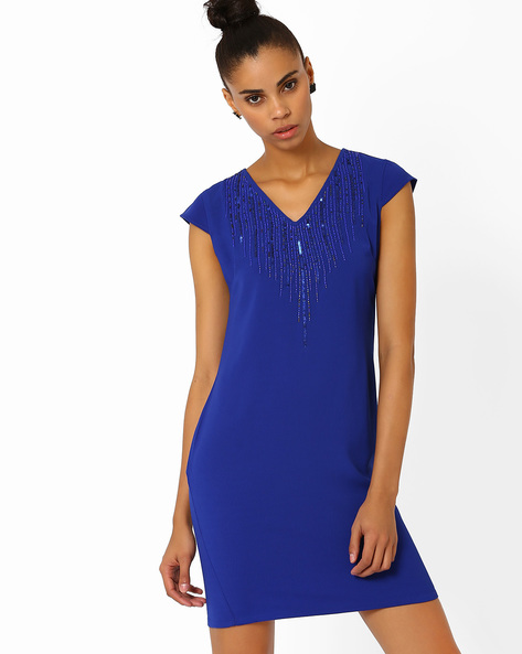 Shift Dress With Sequinned Yoke By AJIO ( Navyblue )