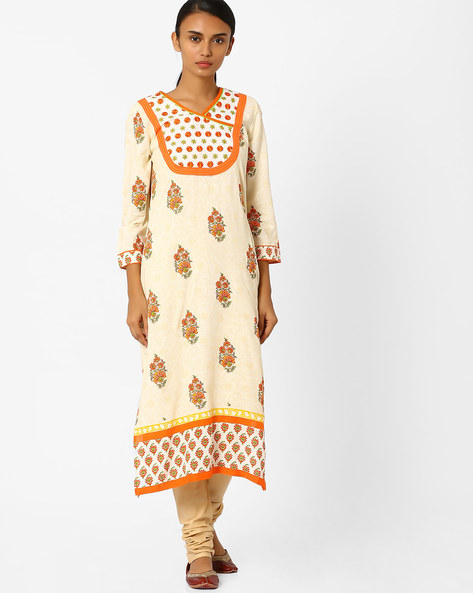 Floral Print Straight Kurta By Jiyaa ( Orange )