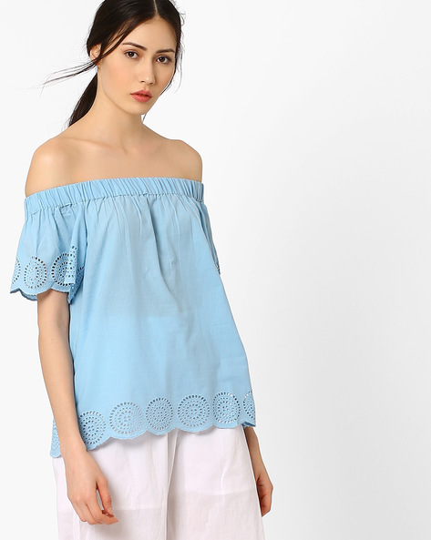 Off-Shoulder Top With Schiffli Embroidery By AJIO ( Lightblue )