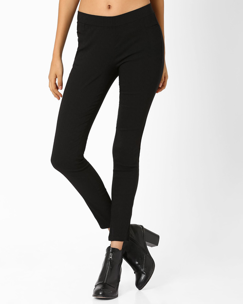 Slim Fit Trousers With Elasticated Waistband By Izabel London By Pantaloons ( Black )