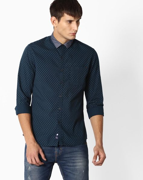 Micro-Dot Print Shirt By NETPLAY ( Navy )