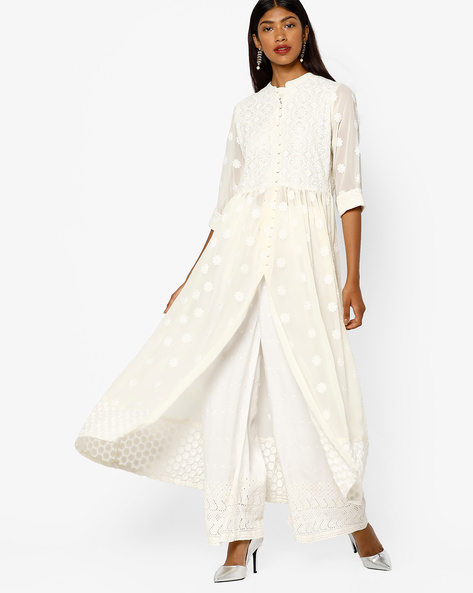 Embroidered Maxi Dress With Front Slit By Shree ( Cream )