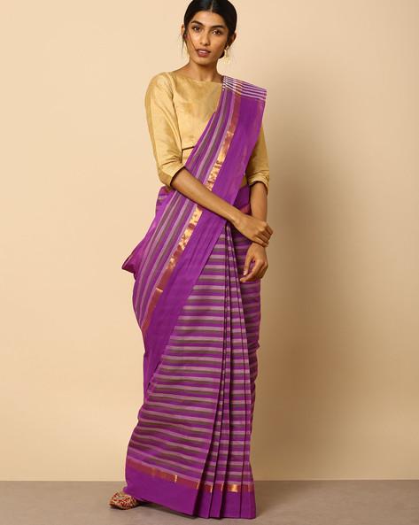 South Cotton Striped Saree With Zari Border By Indie Picks ( Purple )