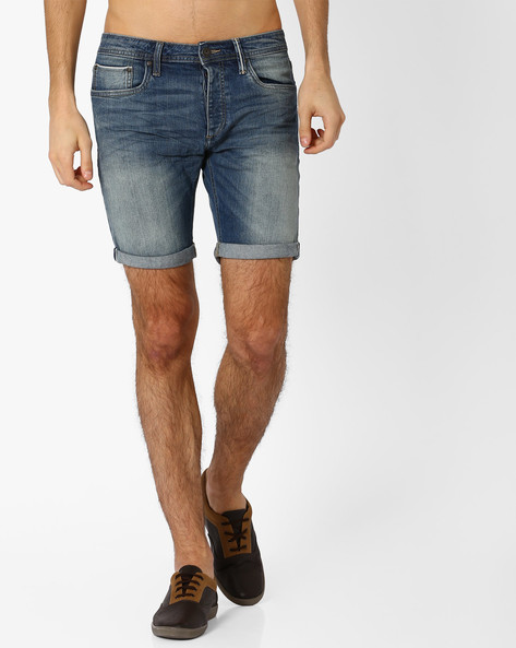 Lightly Washed Slim Fit Shorts By Jack & Jones ( Blue )