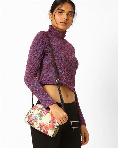 Floral Print Sling Bag By AJIO ( Beige ) - 460018067002
