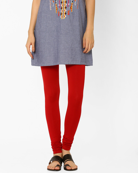 Churidar Leggings With Elasticated Waistband By AJIO ( Red )