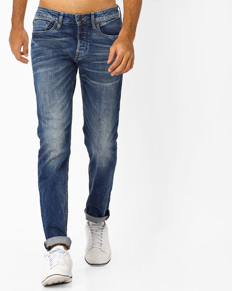 Lightly Washed Mid-Rise Jeans By Jack & Jones ( Blue )