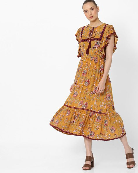 Floral Print A-line Dress With Ladder Embroidery By Rena Love ( Yellow )
