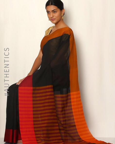 Art Silk Saree With Woven Border By Rudrakaashe-MSU ( Black )