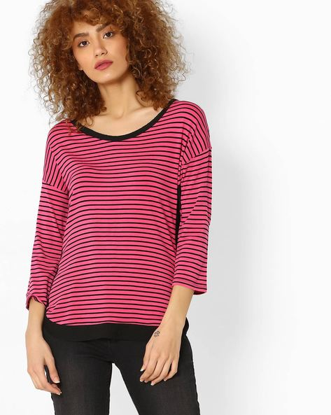 Striped Top With Drop Shoulders By BOSSINI ( Pink )