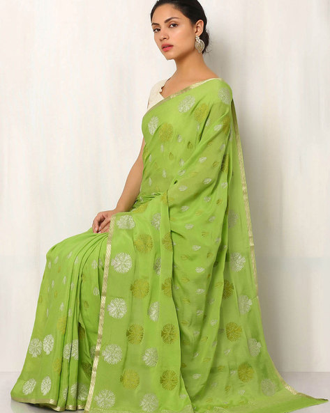 Pure Silk Crepe Embroidered Saree By Rudrakaashe-MSU ( Green )