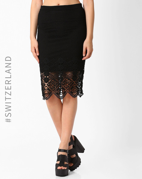 Skirt With Lace Detail By TALLY WEiJL ( Black )
