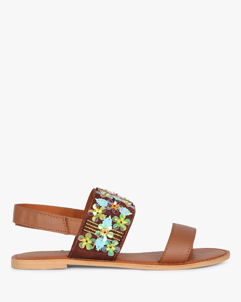 Genuine Leather Dual Strap Sandals With Floral Embellishments By THEEA ( Tan )