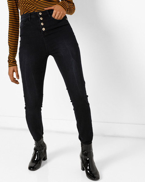 High-Rise Jeans With Whiskers By Vero Moda ( Fuschiablue )
