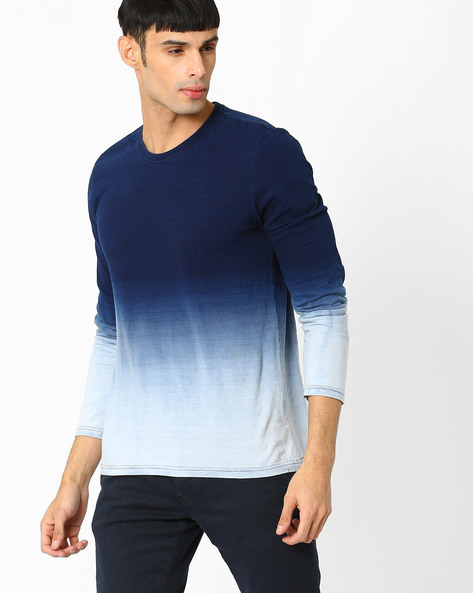 Ombre-Dyed T-shirt By AJIO ( Indigo )