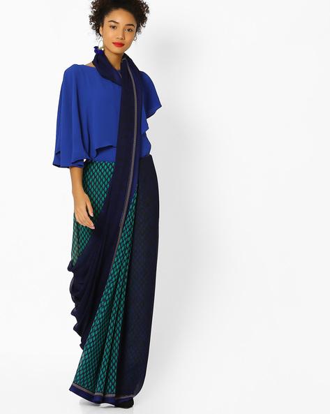 Printed Half-and-Half Georgette Saree By Ishaya ( Blue )