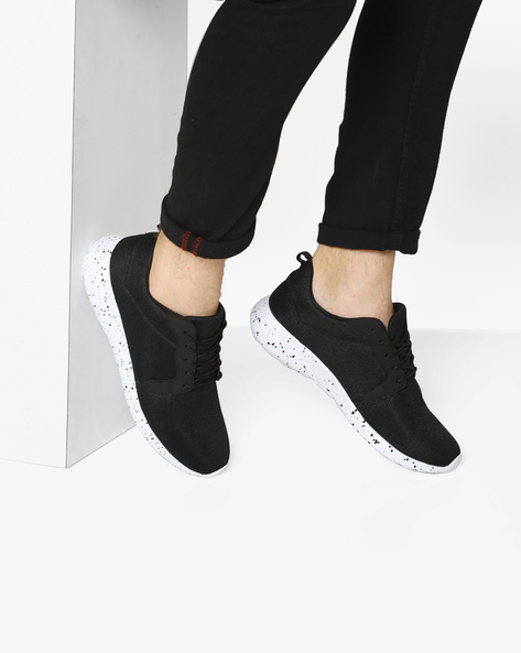 Lace-Up Sneakers With Speckle-Effect By AJIO ( Black )