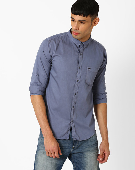 Slim Fit Over-Dyed Shirt By BASICS ( Blue )