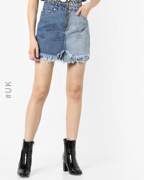 High-Rise Denim Mini Skirt By Liquor N Poker ( Blue )