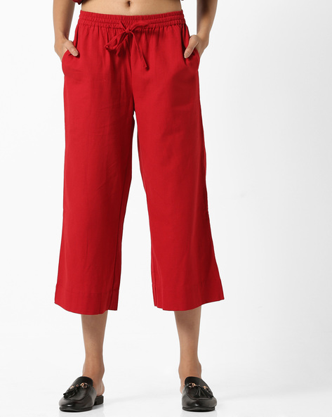 Culottes With Drawstring Waist By Project Eve IW Casual ( Red )