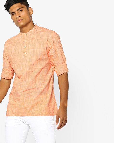 Micro Checked Shirt Kurta By NETPLAY ( Orange )