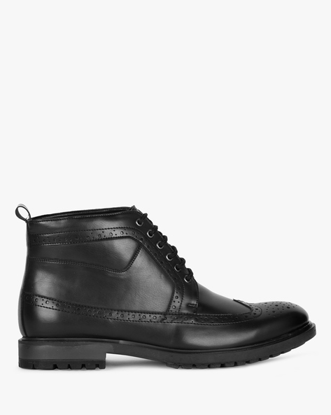 Lace-Up Formal Boots With Broguing By STELVIO ( Black )