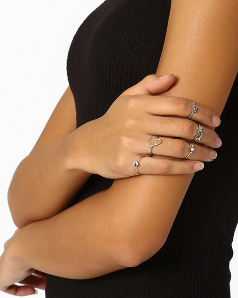 Set Of 5 Stackable Rings By Bauble Beads ( Silver )