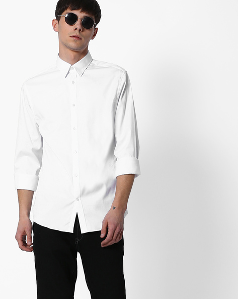 Cotton Smart Casual Shirt By SELECTED ( White )