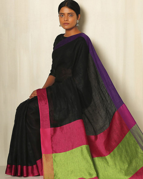 Handwoven Linen Saree With Cotton Contrast Border By Indie Picks ( Black ) - 460055718001
