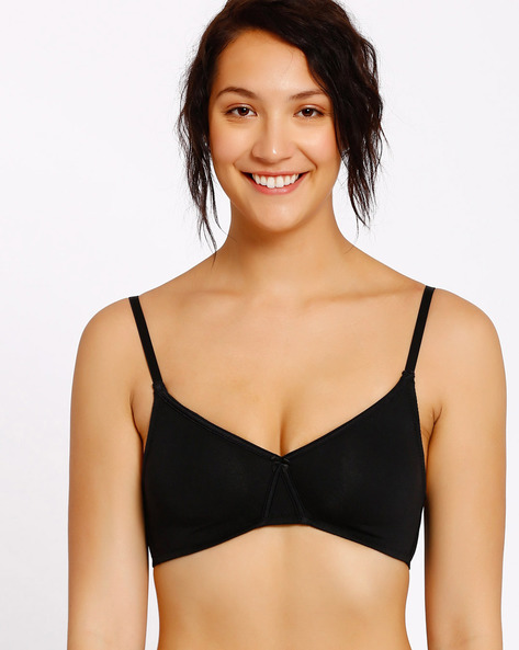 Padded Bra With Bow Detail By Enamor ( Black )