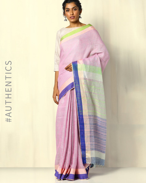 Pure Linen Handloom Saree With Contrast Border By Indie Picks ( Purple )