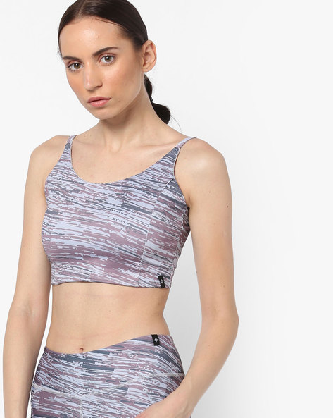 Printed Sports Bra With Criss-Cross Straps By SATVA ( Multi )
