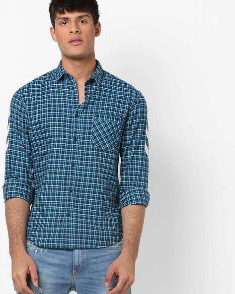 Checked Slim Fit Shirt With Patch Pocket By AJIO ( Blue ) - 460158487002