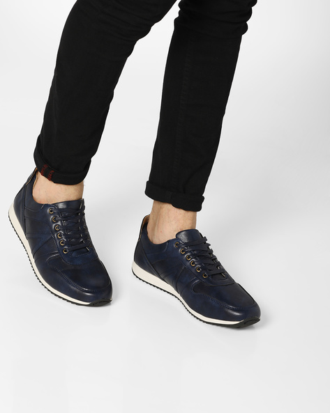 Textured Sneakers With Perforated Panels By AJIO ( Navy )
