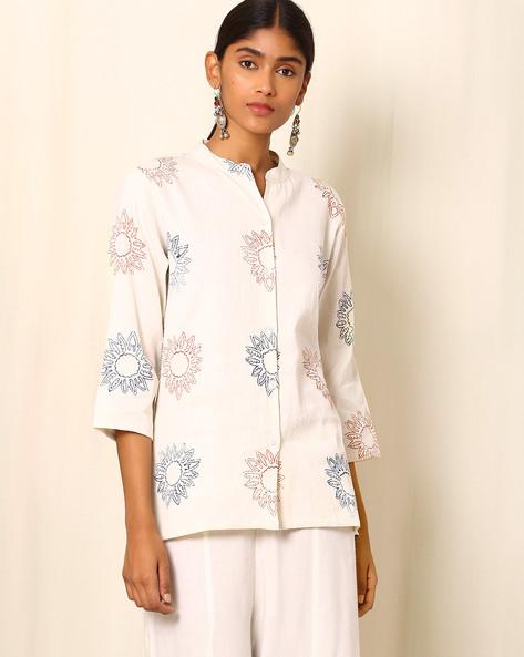Block Print Cotton Jacket By Ek Taara ( White )