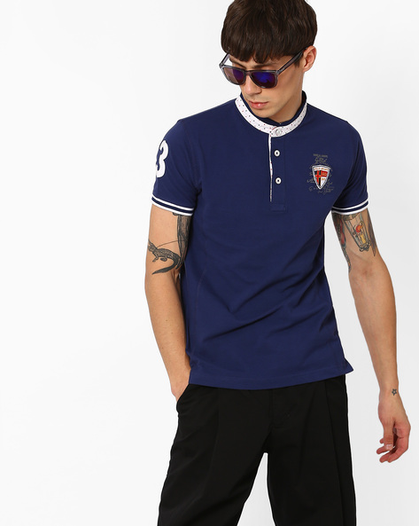 Slim T-shirt With Band Collar By DUKE ( Navy )